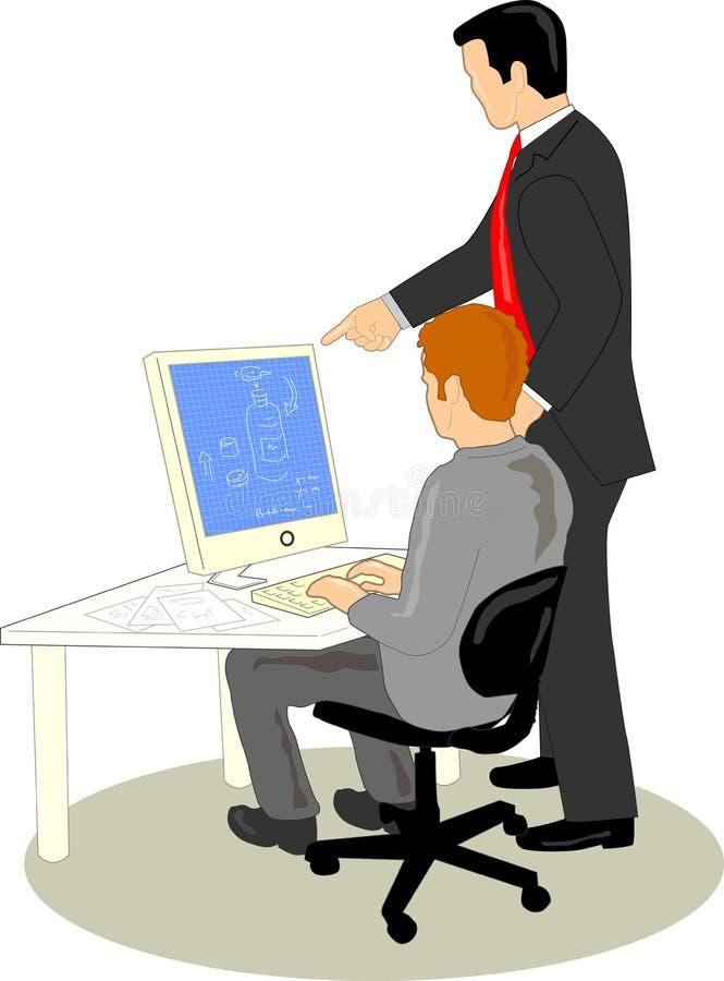 Funcionamiento del diseñador y del cliente ilustración del vector