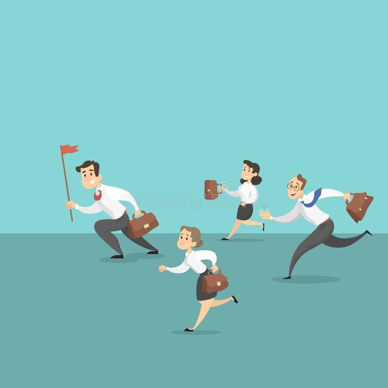 Funcionamiento del equipo del negocio stock de ilustración