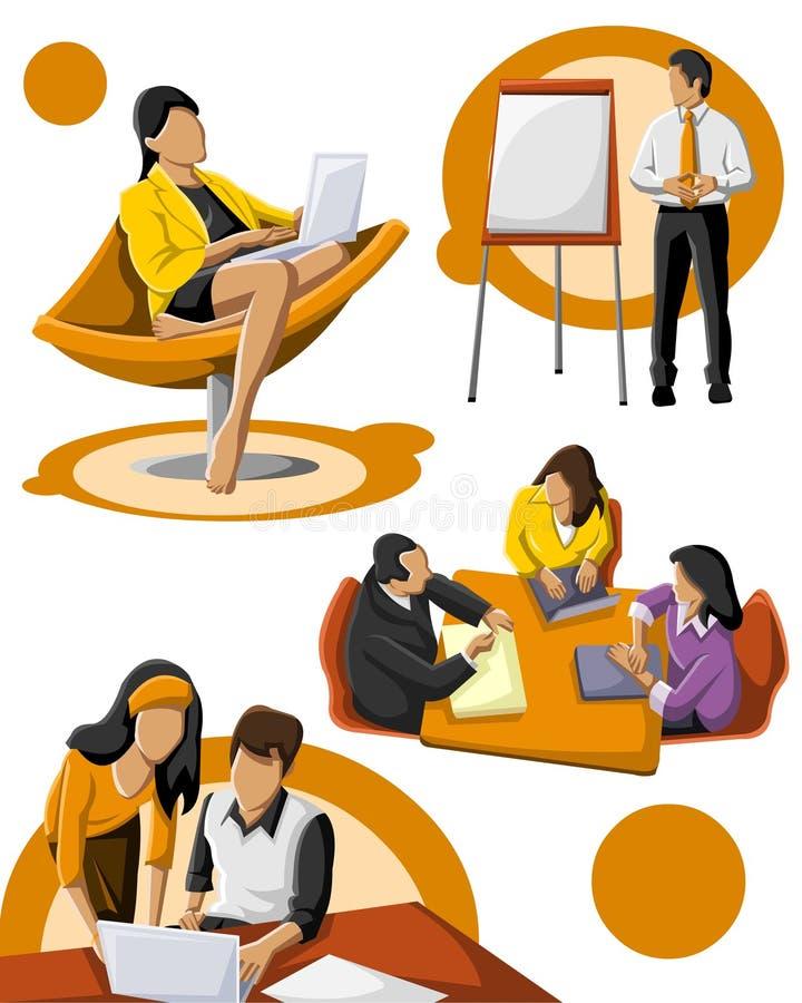 Funcionamiento del grupo de personas stock de ilustración