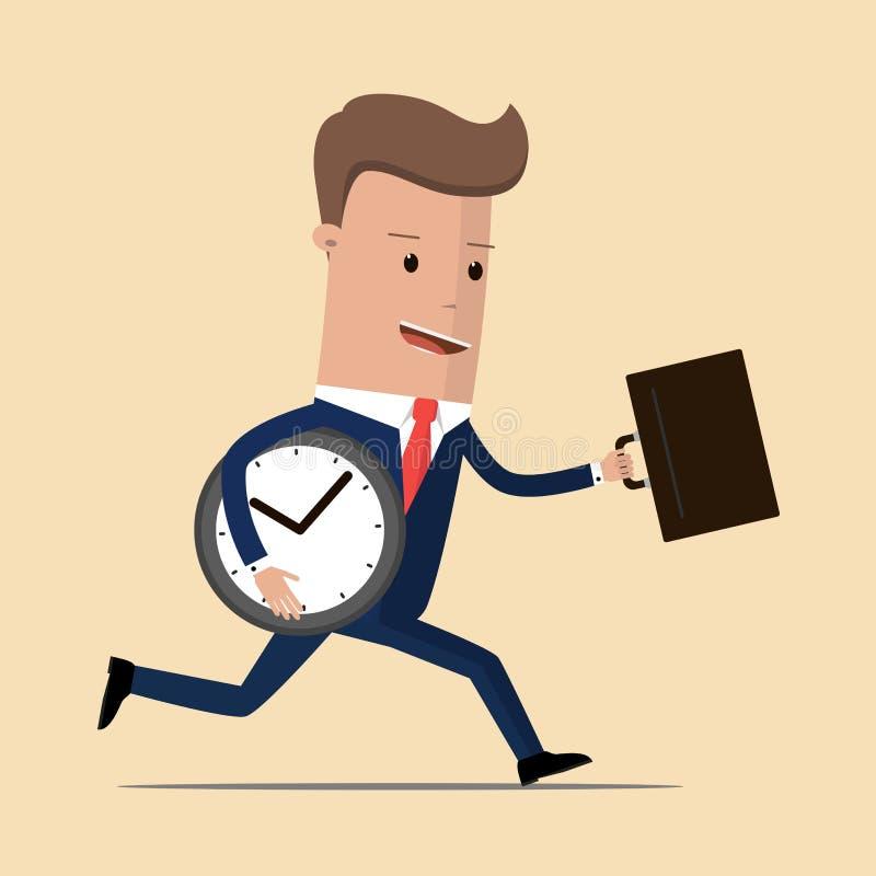 Funcionamiento del hombre de negocios con la cartera y reloj, concepto enérgico, dinámico y de la velocidad del negocio Ilustraci libre illustration