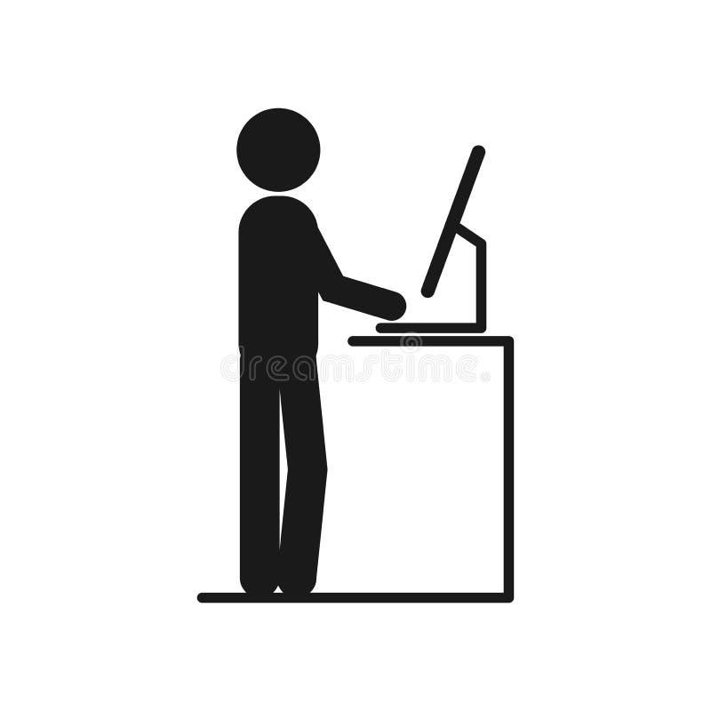 Funcionamiento del hombre en el escritorio permanente del vector hombre que trabaja en la oficina en los ordenadores ilustración del vector