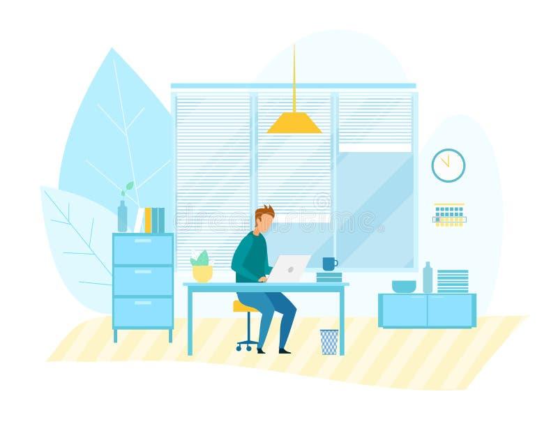 Funcionamiento del hombre en el ordenador en oficina moderna de la tecnología ilustración del vector