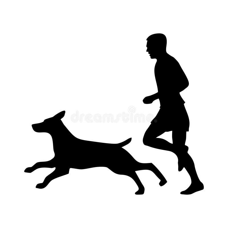 Funcionamiento del hombre y del pastor Silueta del perro y de la gente Engrana el icono stock de ilustración