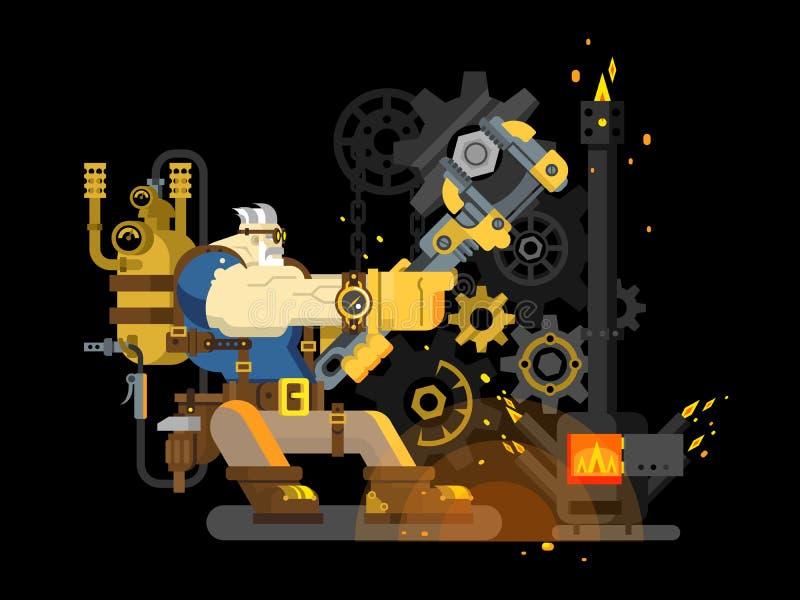 Funcionamiento del ingeniero del vapor ilustración del vector
