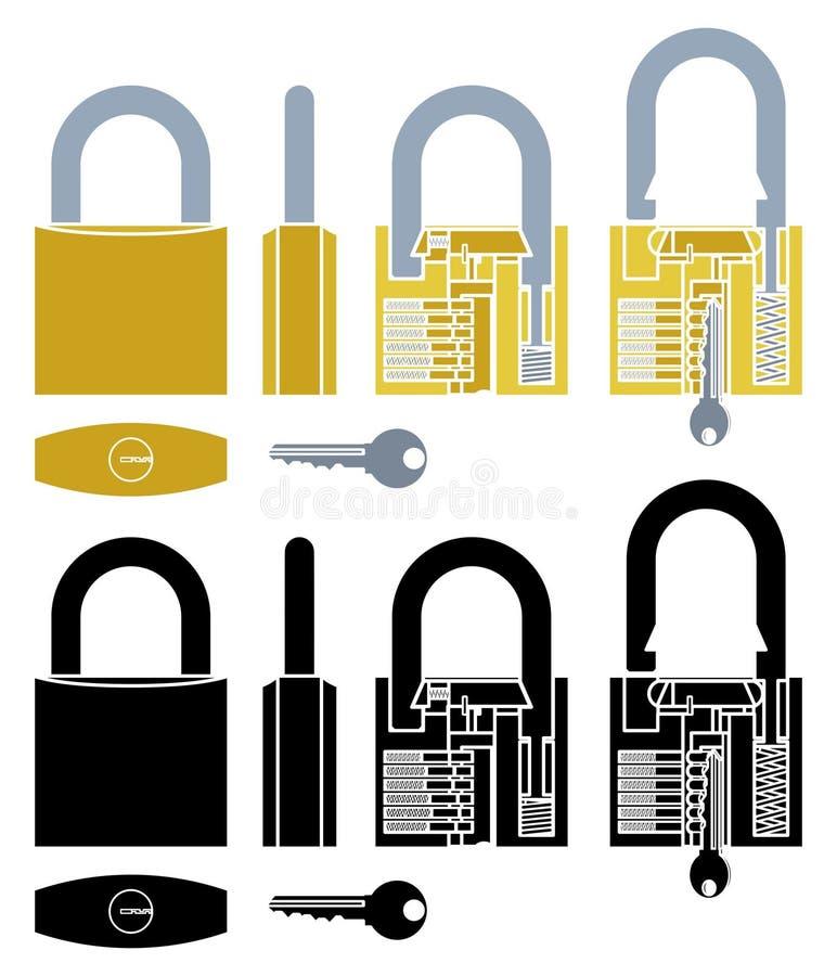 Funcionamiento del mecanismo del candado coloreado y sin esquema libre illustration