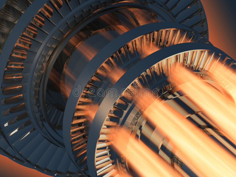 Funcionamiento del motor de turbina de gas ilustración del vector