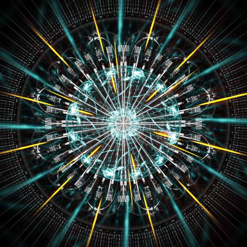 Funcionamiento del ordenador de Quantum, con los elementos del movimiento imágenes de archivo libres de regalías