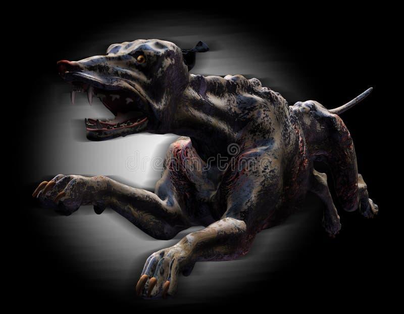 Funcionamiento del perro del infierno - con el camino de recortes stock de ilustración