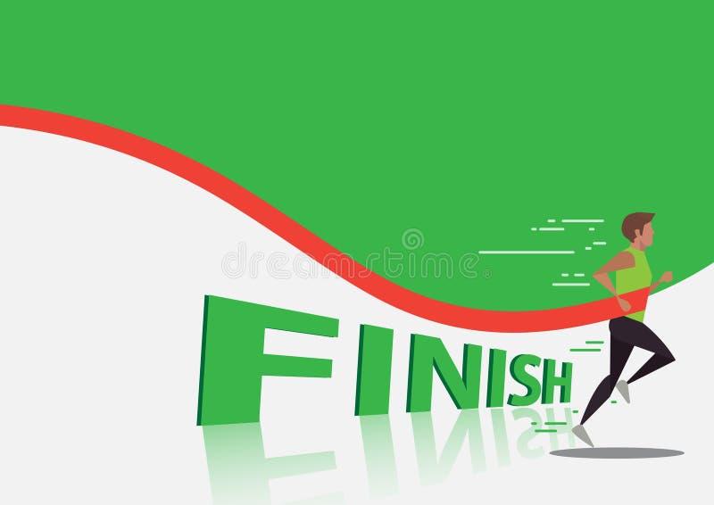 Funcionamiento del sprint del hombre para ganar el diseño, backgroun verde ilustración del vector