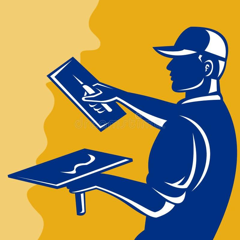 Funcionamiento del trabajador del comerciante del yesero stock de ilustración