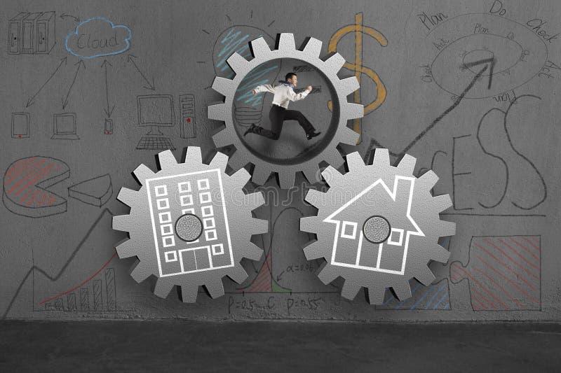Funcionamiento en engranaje concreto con garabatos del hogar y de la oficina libre illustration