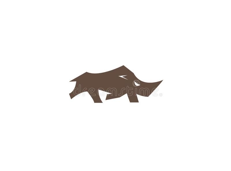 Funcionamiento grande Nashorn del rinoceronte para el diseño del logotipo stock de ilustración