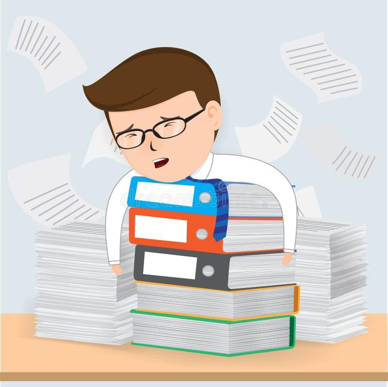 Funcionamiento ocupado del hombre de negocios ilustración del vector