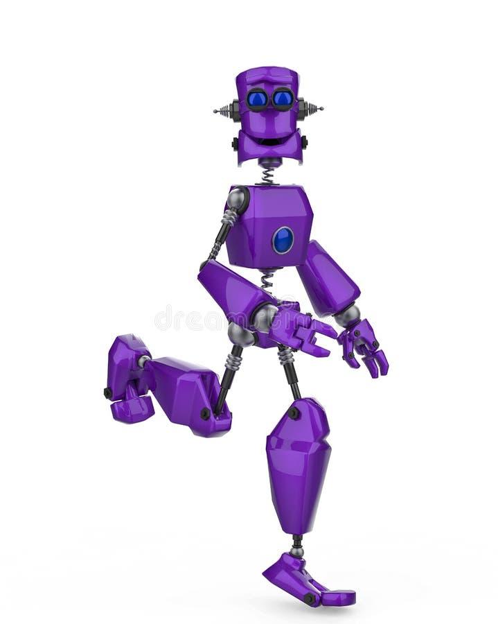 Funcionamiento púrpura divertido de la historieta del robot feliz en un fondo blanco stock de ilustración