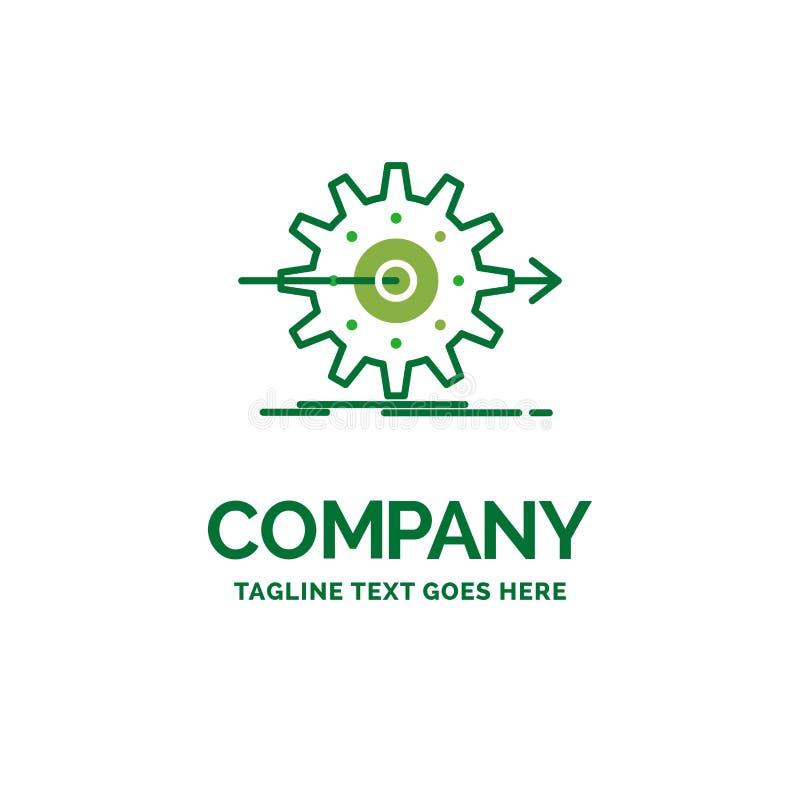 funcionamiento, progreso, trabajo, ajuste, te plano del logotipo del negocio del engranaje ilustración del vector