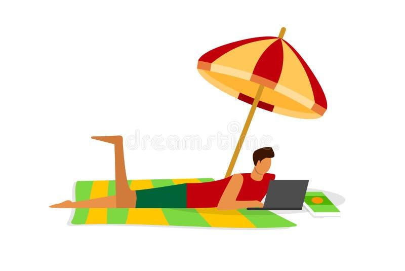 Funcionamiento remoto del Freelancer ocupado del hombre joven en el ordenador portátil stock de ilustración