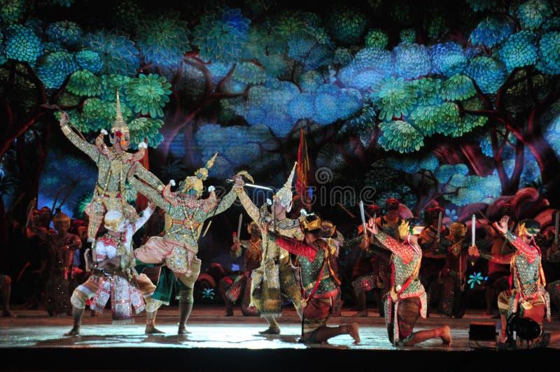 Funcionamiento tailand?s de Khon de la pantomima imagen de archivo
