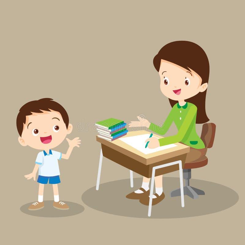 Funcionamiento y charla del profesor con el estudiante stock de ilustración
