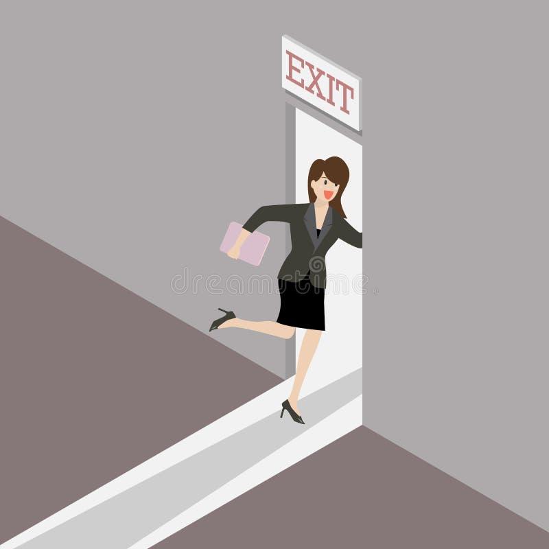 Funcionamientos de la mujer de negocios a la puerta de salida stock de ilustración