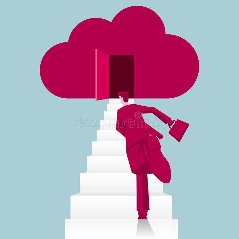 Funcionamientos del hombre de negocios al símbolo de la nube diseño de concepto del negocio ilustración del vector