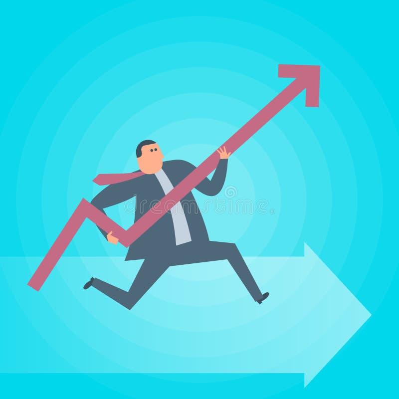 Funcionamientos del hombre de negocios con el aumento de la flecha del gráfico Estafa del vector del éxito ilustración del vector