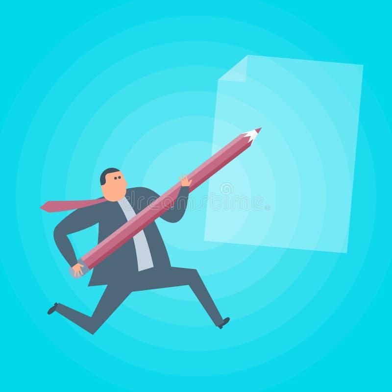 Funcionamientos del hombre de negocios con el lápiz y el documento Vector plano i del concepto libre illustration