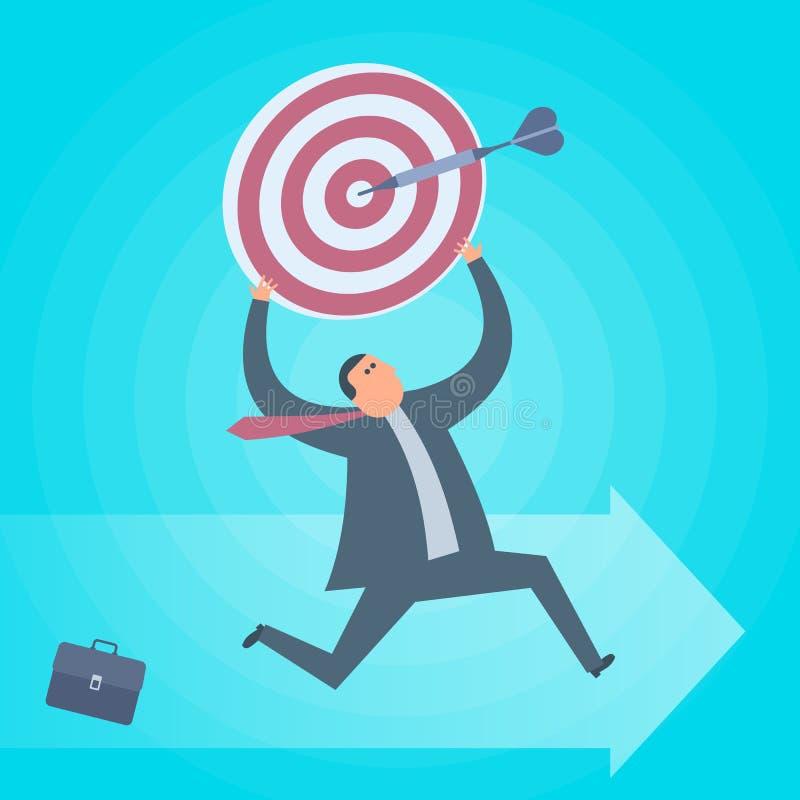 Funcionamientos del hombre de negocios con la blanco Concepto del logro del negocio plano stock de ilustración