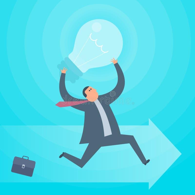 Funcionamientos del hombre de negocios con la lámpara Vector plano IL del concepto de la idea del negocio ilustración del vector
