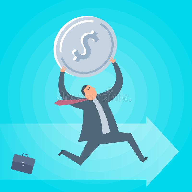 Funcionamientos del hombre de negocios con la moneda del dólar Vector plano del concepto del negocio stock de ilustración