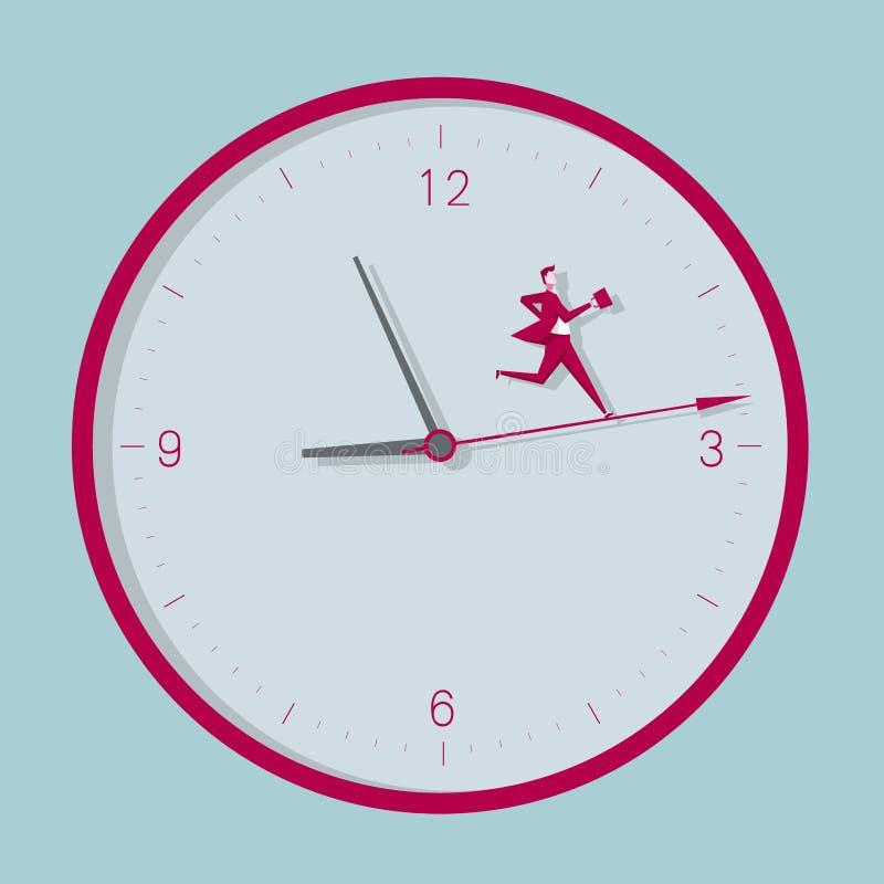 Funcionamientos del hombre de negocios en el reloj stock de ilustración