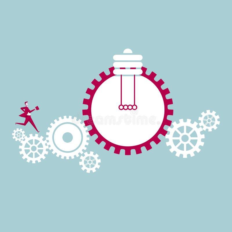 Funcionamientos del hombre de negocios en los engranajes mecánicos libre illustration