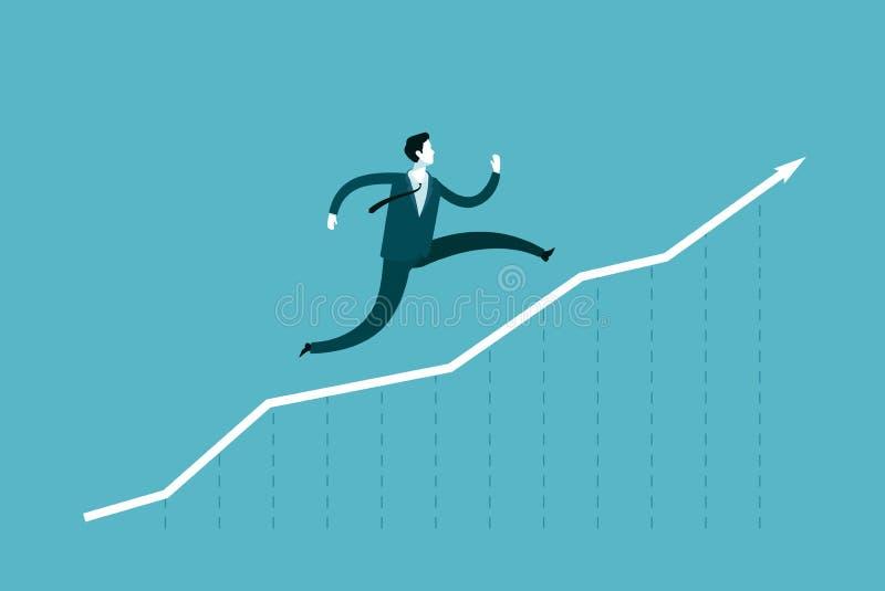 Funcionamientos del hombre de negocios encima de la flecha ?xito de la carrera, concepto del negocio Ejemplo del vector de Infogr stock de ilustración