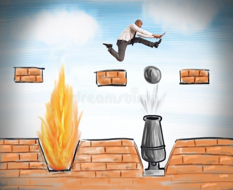Funcionamientos del hombre de negocios para superar obstáculos stock de ilustración