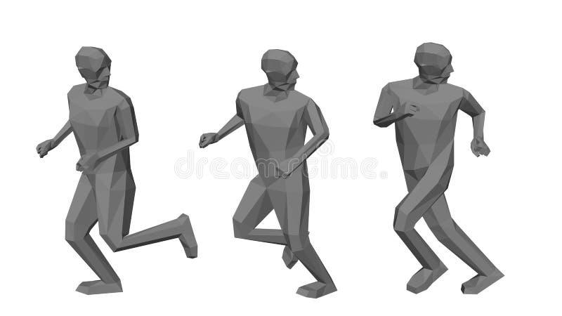 Funcionamientos polivinílicos bajos de los hombres que miran detrás Aislado en el fondo blanco ilustración del vector