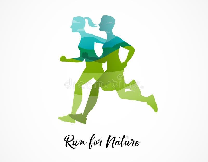 Funcione con el icono, el símbolo, el cartel del maratón y el logotipo libre illustration