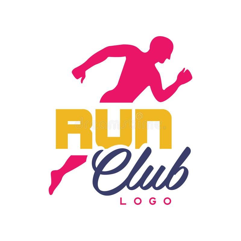 Funcione con la plantilla del logotipo del club, emblema con la silueta corriente abstracta del hombre, etiqueta colorida para el stock de ilustración