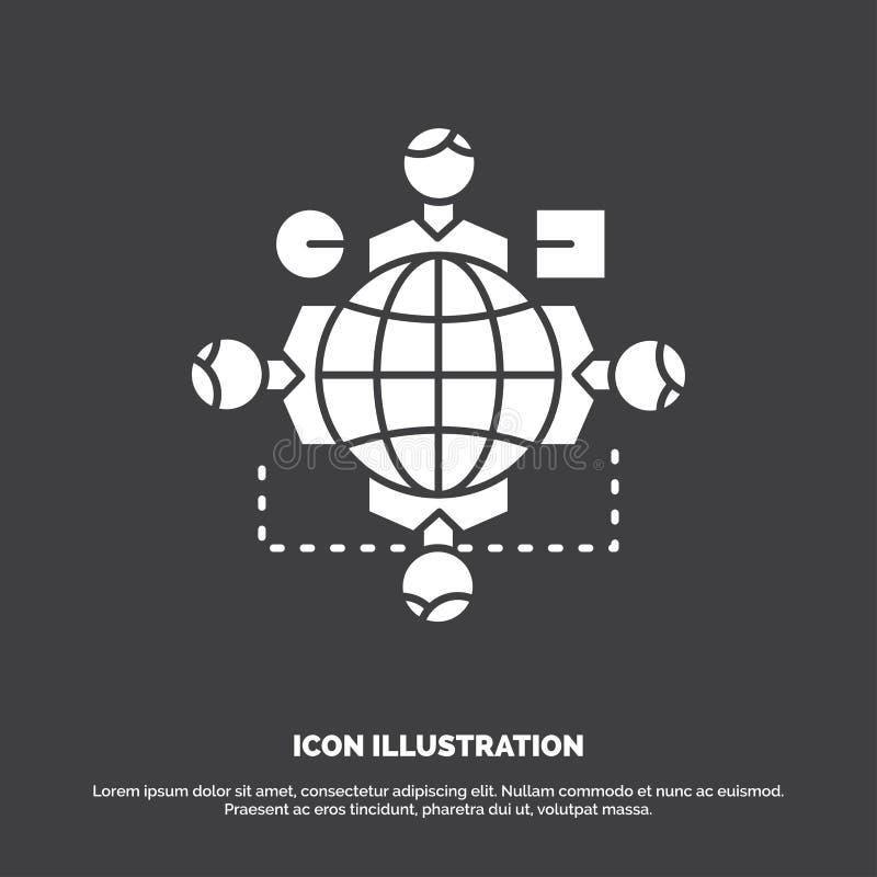 Functie, instructie, logica, verrichting, samenkomend Pictogram glyph vectorsymbool voor UI en UX, website of mobiele toepassing royalty-vrije illustratie