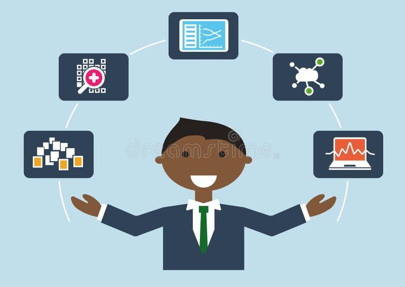 IT functieprofielillustratie van bedrijfspersoon IT deskundige voor grote gegevens riep ook gegevenswetenschapper vector illustratie