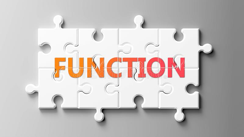 Function complex like a puzzle - pictured as word Function on a puzzle pieces to show that Function can be difficult and needs. Cooperating pieces that fit vector illustration