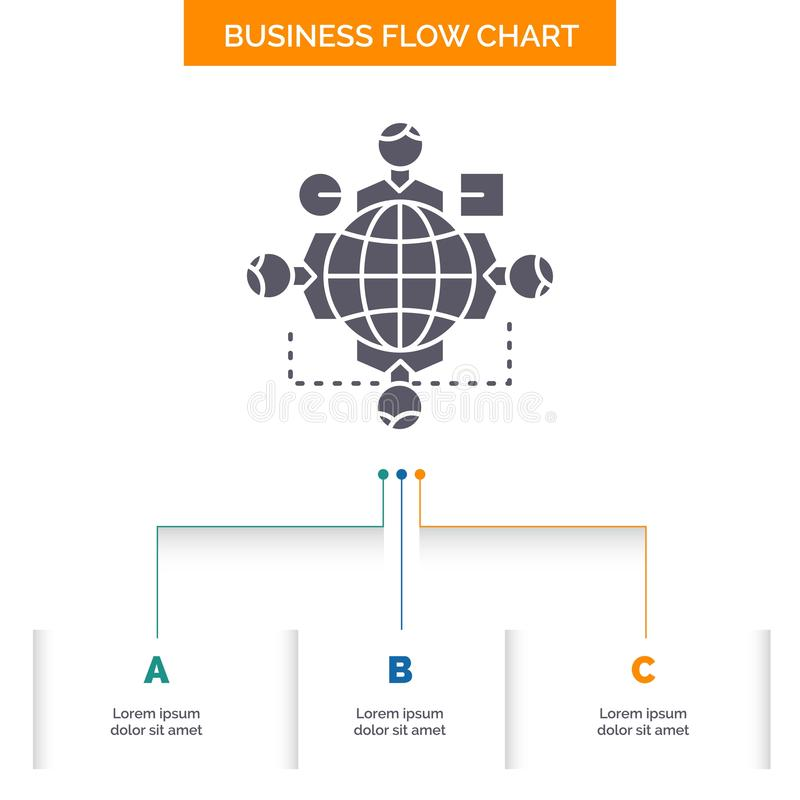 Function, instruction, logic, operation, meeting Business Flow Chart Design with 3 Steps. Glyph Icon For Presentation Background. Template Place for text royalty free illustration