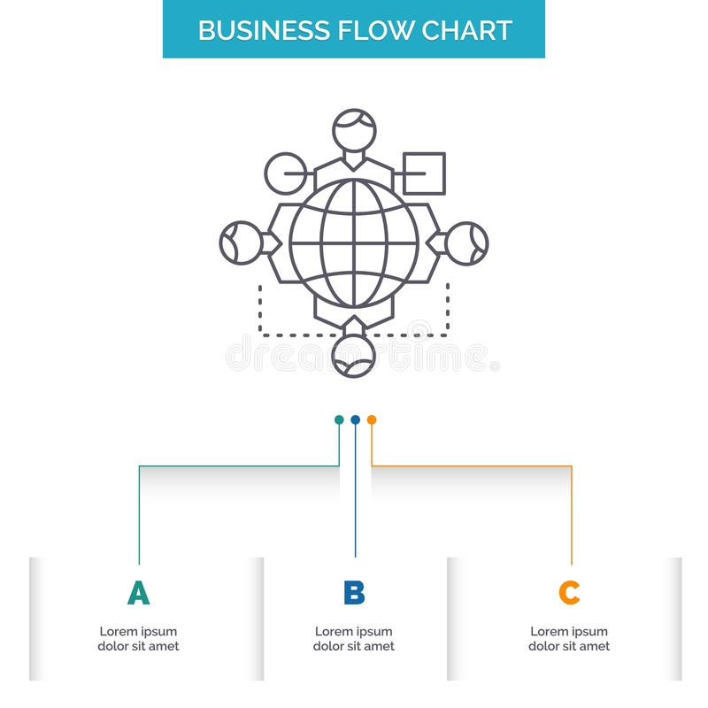 Function, instruction, logic, operation, meeting Business Flow Chart Design with 3 Steps. Line Icon For Presentation Background. Template Place for text. Vector vector illustration