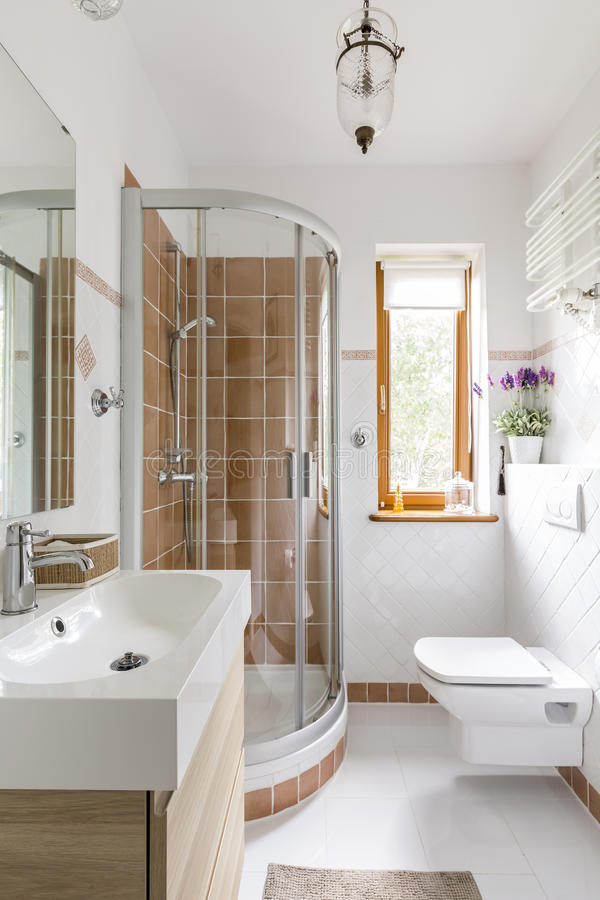 Functional bathroom with toilet and shower. Small functional modern bathroom with toilet, sink and glass shower royalty free stock photography