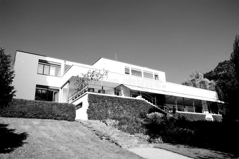 Functionalist villa in Brno in the Czech Republic, Europe. Functionalist villa Tugenthat in Brno in the Czech Republic, Europe in Black and White stock photos