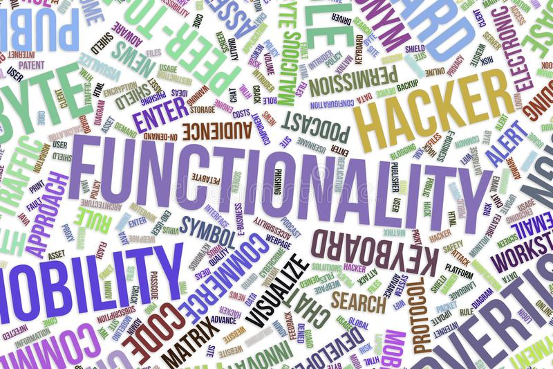 Functionaliteit, conceptuele woordwolk voor zaken, informatietechnologie of IT stock illustratie