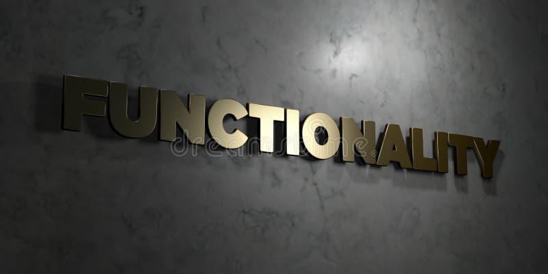 Functionaliteit - Gouden tekst op zwarte achtergrond - 3D teruggegeven royalty vrij voorraadbeeld royalty-vrije illustratie
