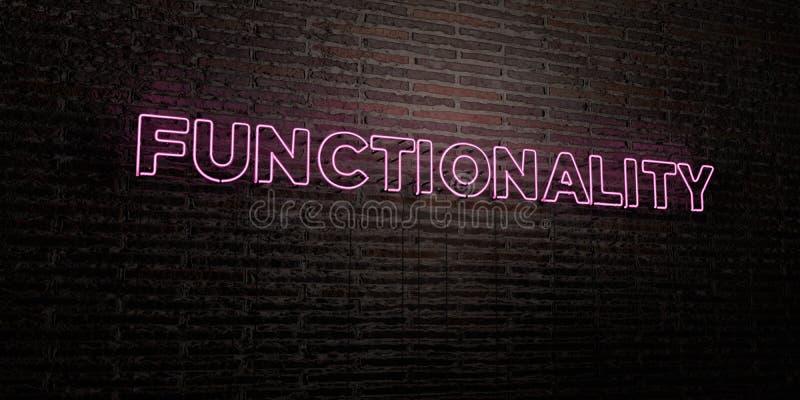 FUNCTIONALITEIT - Realistisch Neonteken op Bakstenen muurachtergrond - 3D teruggegeven royalty vrij voorraadbeeld stock illustratie
