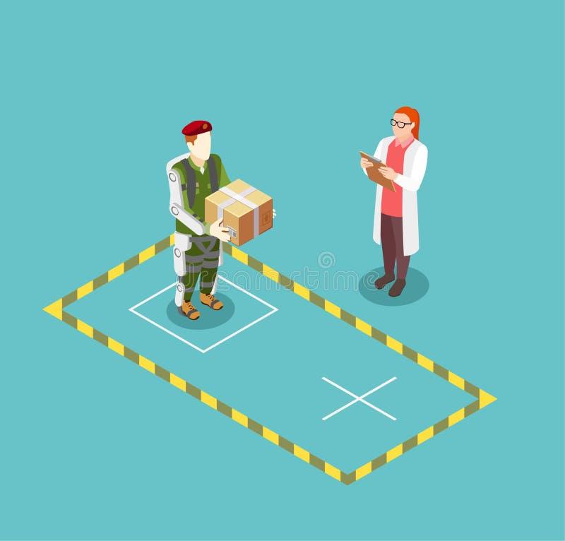 Functionaliteit van Exoskeleton Vectorillustratie vector illustratie