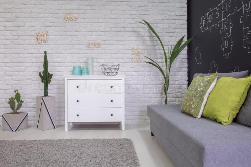 Functionele ruimte met decoratieve houseplants stock afbeelding