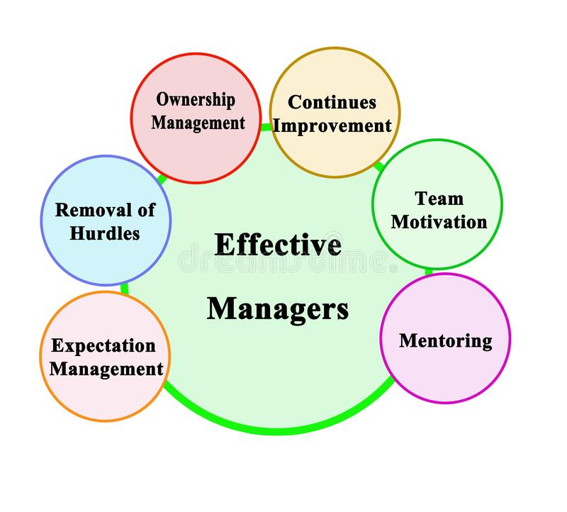 Functions of Effective Managers. Six functions of Effective Managers stock illustration