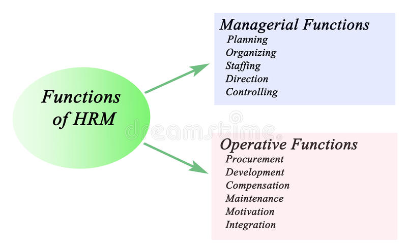 Functions of HRM. Functions of human resource management stock illustration